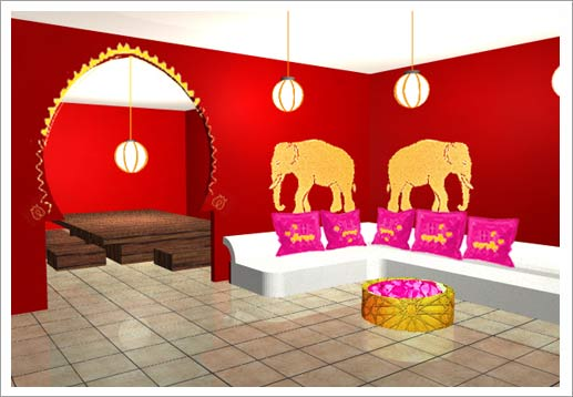 D co salon hindou for Decoration chambre hindou